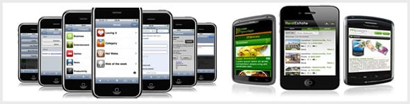 An image depicting various mobile phones with mobile websites.